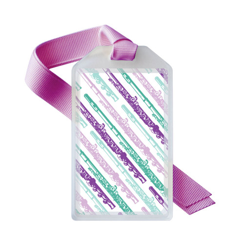 Flute case tag in purple and green