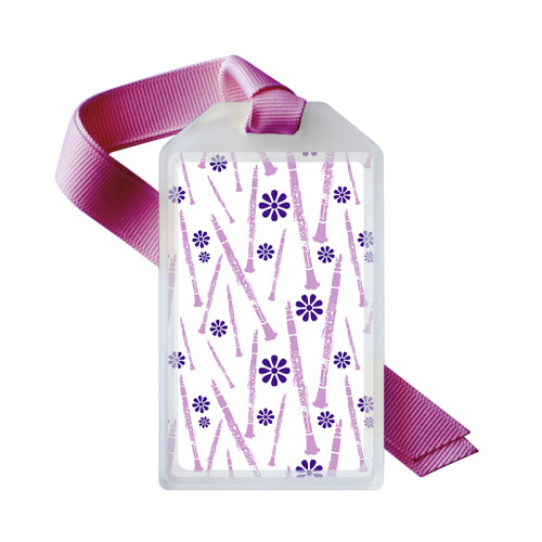Clarinet instrument name tag in purple
