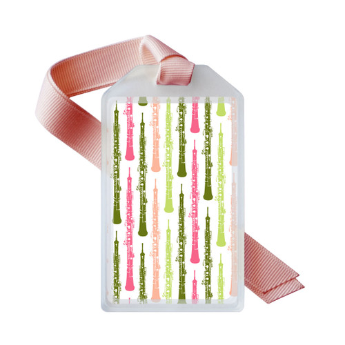 oboe instrument  case ID tag in pink and green