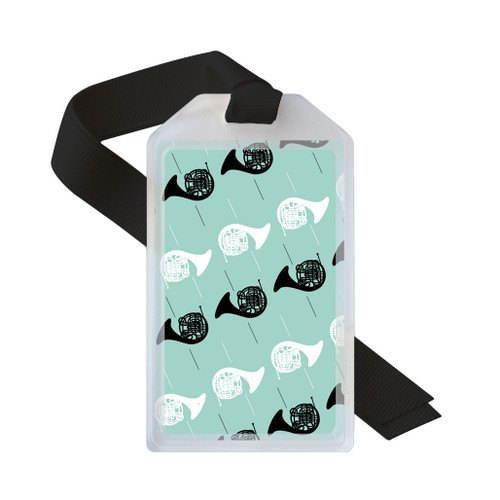 Teal, black, and white french horn luggage tag