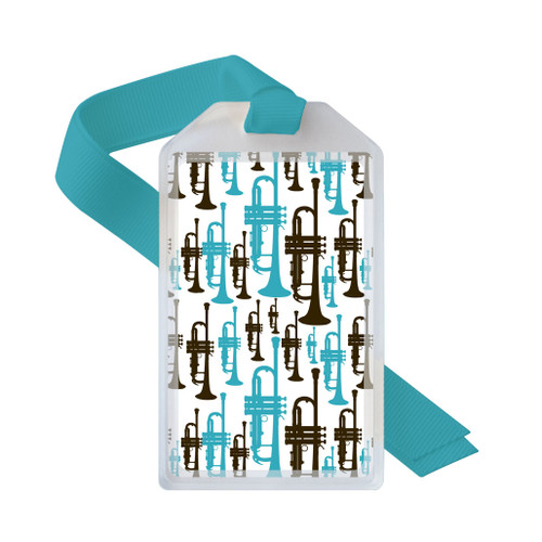 Trumpet player musical instrument tag in blue and brown