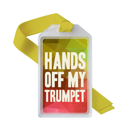 Musical instrument ID tag for trumpet players