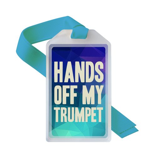 Musical instrument ID case tag for trumpet players
