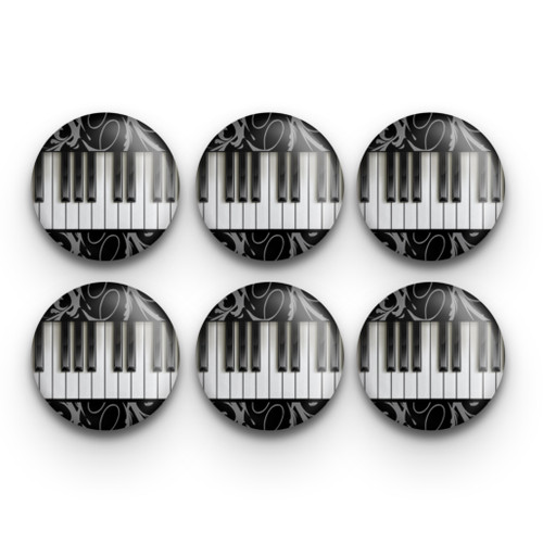 Set of six piano keyboard buttons