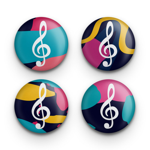 Treble clef button set of four
