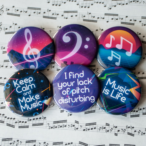 Set of six 80s themed music buttons