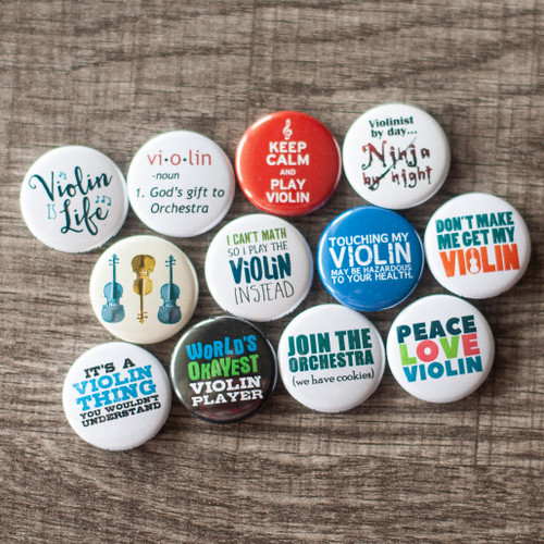 Set of 12 funny violin buttons