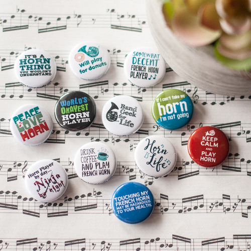 Set of 12 French horn buttons