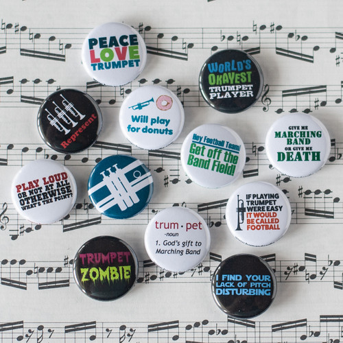 Trumpet and marching band themed button set
