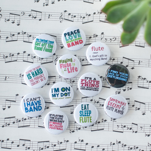 12 flute and marching band buttons