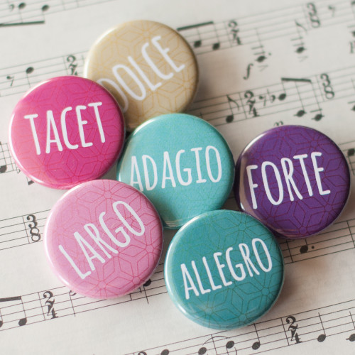 Musical Terms Buttons (set of six)