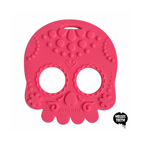 pink skull baby teething toy