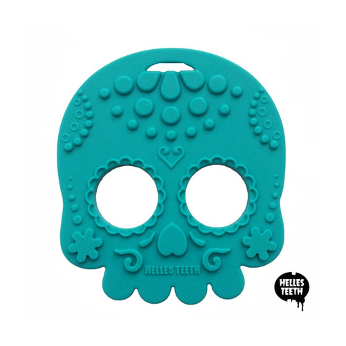 Blue skull baby teething toy