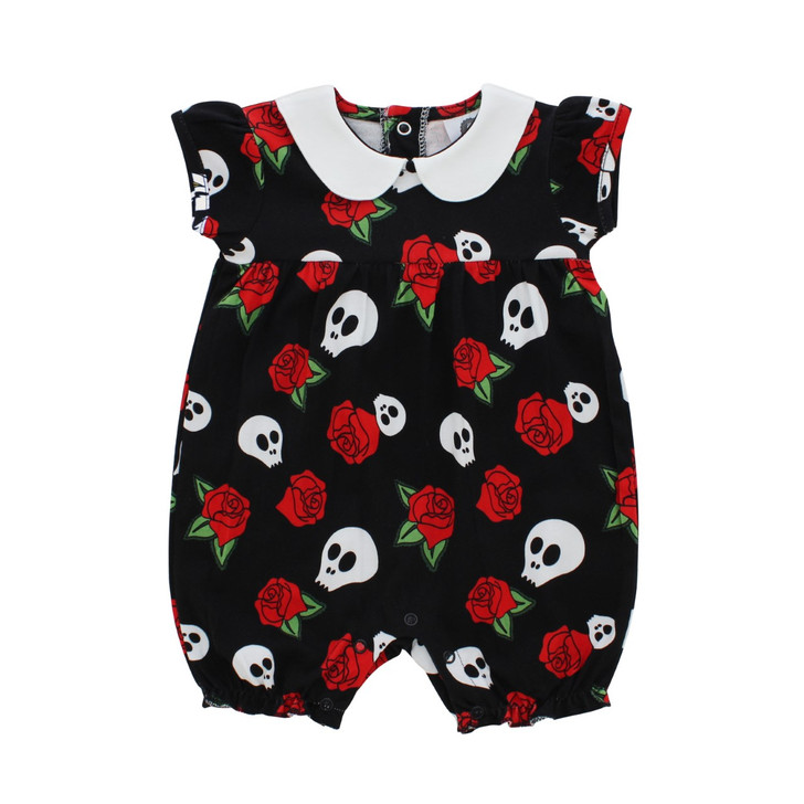 Skull and rose baby romper