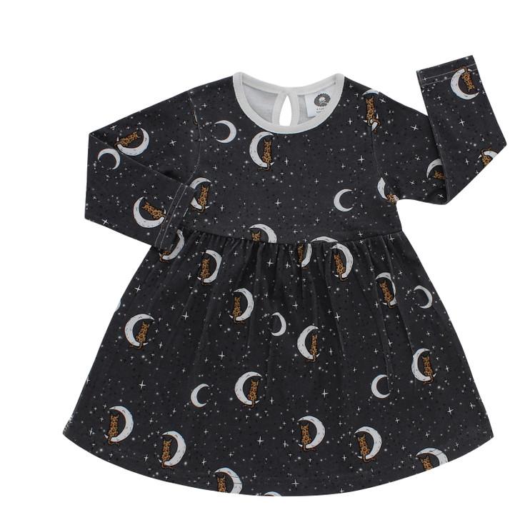 Midnight leopard print baby dress