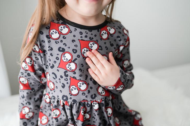 Love skulls long sleeve dress red