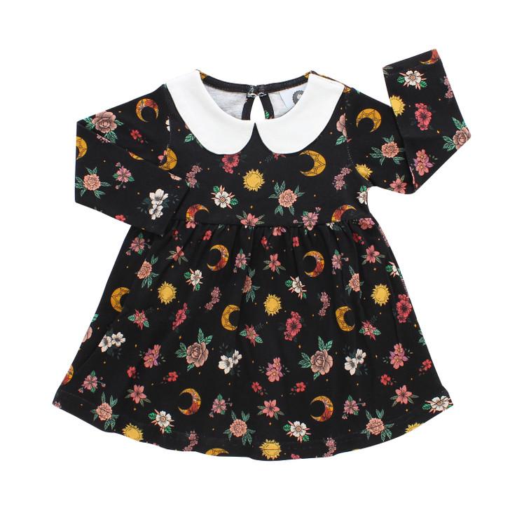 Floral moons toddler dress