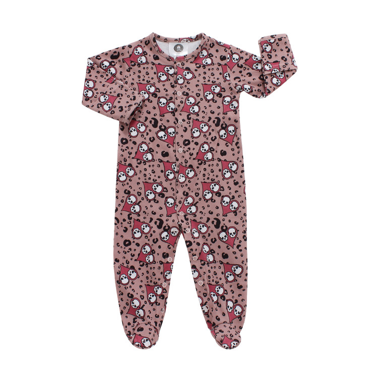 Pink skulls baby sleepsuit