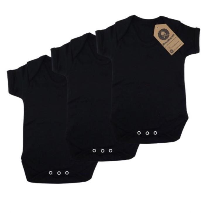 3 pack plain black baby vest