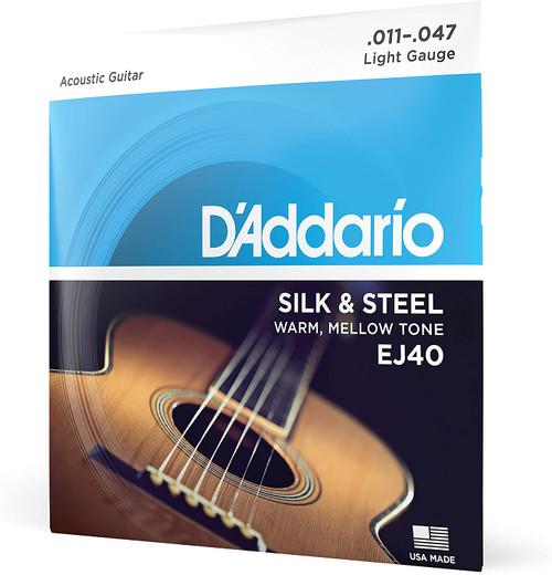 D'Addario EJ40 SILK & STEEL FOLK GUITAR, 11-47 SET OF 4
