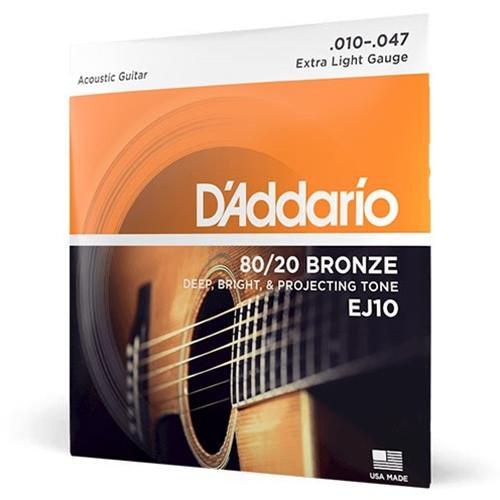 D'Addario EJ15 PHOSPHOR BRONZE ACOUSTIC GUITAR STRINGS, EXTRA LIGHT,  10-47 SET OF 4