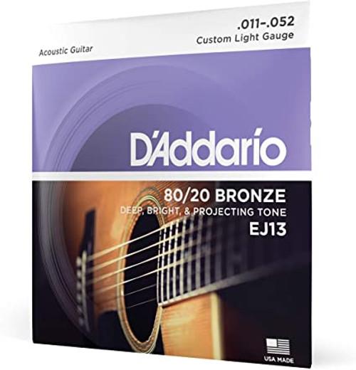 D'Addario EJ13 80/20 BRONZE ACOUSTIC GUITAR STRINGS, CUSTOM LIGHT, 11-52 SET OF 4