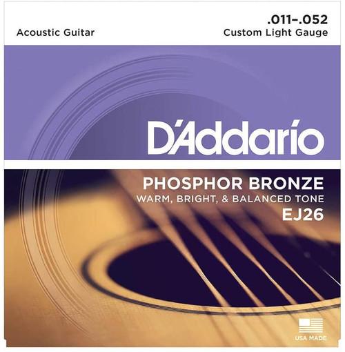 D'Addario EJ26 PHOSPHOR BRONZE ACOUSTIC GUITAR STRINGS, CUSTOM LIGHT, 11-52 SET OF 4