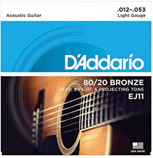 D'Addario EJ11 80/20 ACOUSTIC GUITAR STRINGS, LIGHT, 12-53 SET OF 4