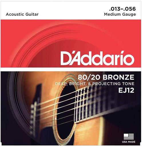 D'Addario EJ12 80/20 BRONZE ACOUSTIC GUITAR STRINGS, MEDIUM, 13-56 SET OF 4