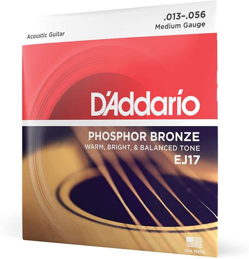 D'Addario EJ17 PHOSPHOR BRONZE ACOUSTIC GUITAR STRINGS, MEDIUM, 13-56 SET OF 4