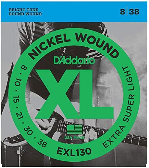 D'Addario EXL130 NICKEL WOUND, EXTRA-SUPER LIGHT, 08-38 SET OF 4