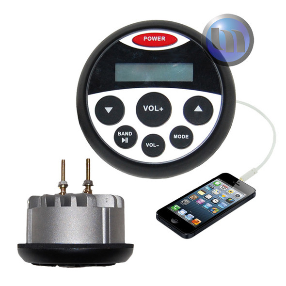 Marine Stereo MP3/USB/FM/AM/Ipod Player - Compact Gauge Size