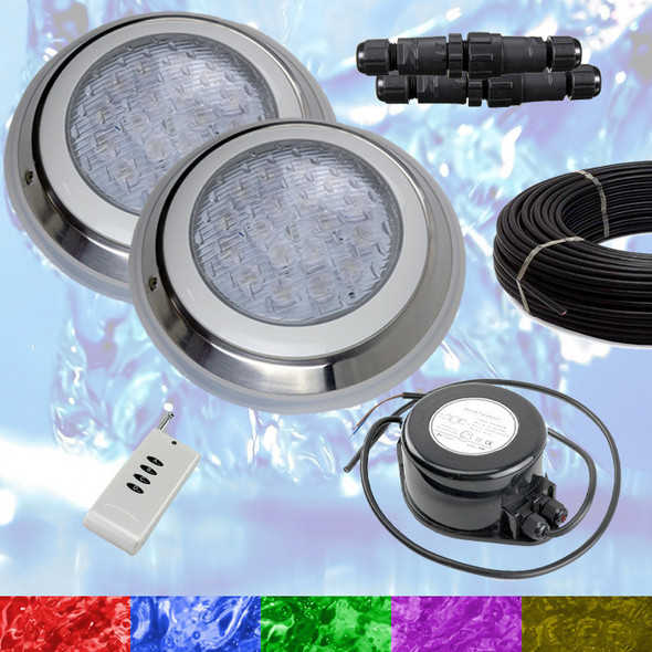 2 x Swimming Pool LED Lights RGB + Controller + Power + Cable - Very Powerful Colour Light - 2 Wire