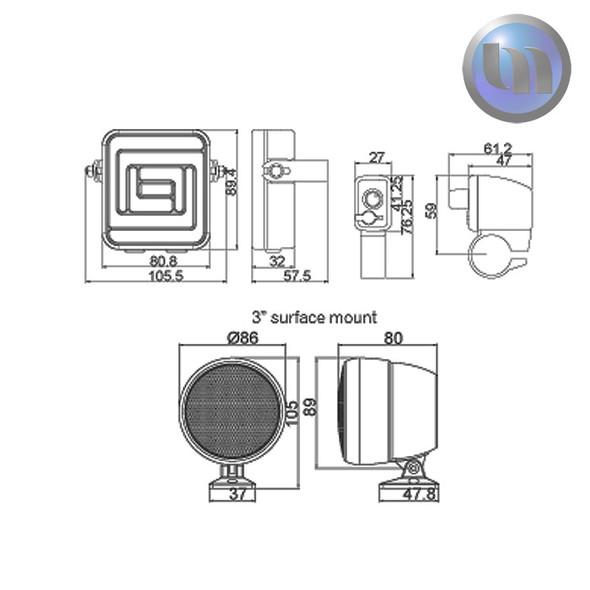 Waterproof Motorcycle/ATV Audio System-3 Inch-40W Speakers-Black