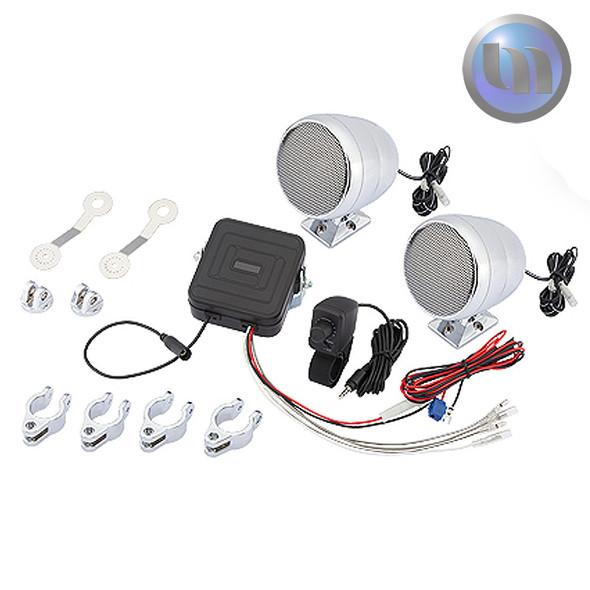 Waterproof Motorcycle/ATV Audio System-3 Inch-40W Speakers-Crome