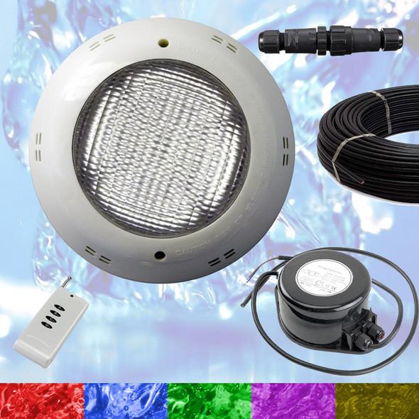 Swimming Pool LED Light RGB - Above Ground / Fiberglass Kit + Power + 10m Cable