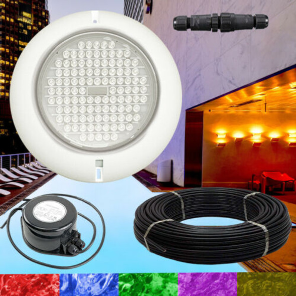 18W Resin Filled Ultra Bright RGB Pool Light + Power Supply + Cable Kit