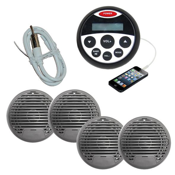 Marine Boat Audio Stereo Kit MP3/USB/FM/AUX/Ipod Radio+ 4 Speakers + Antenna