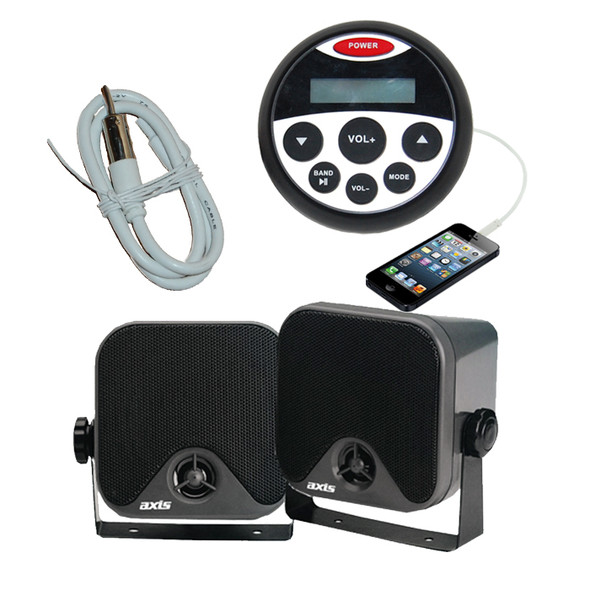 Marine Waterproof Audio Kit MP3/USB/AM/FM/Ipod Boat Stereo + Speakers + Antenna