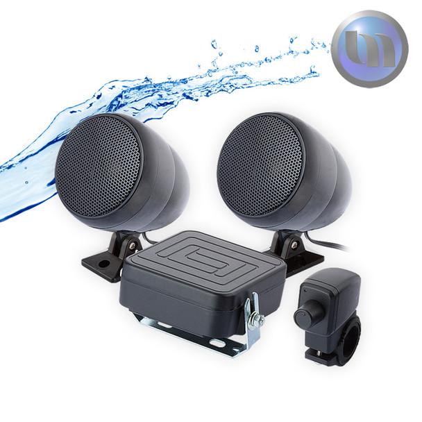 Waterproof Motorcycle/ATV Audio System-2 Inch-40W Speakers-Black