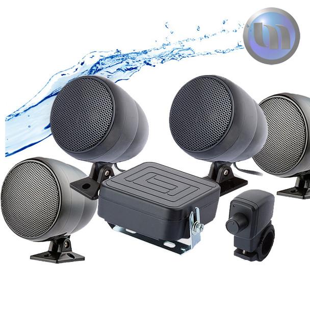 Motorcycle/ATV Waterproof Audio System-3 Inch-40W Speakers-Black