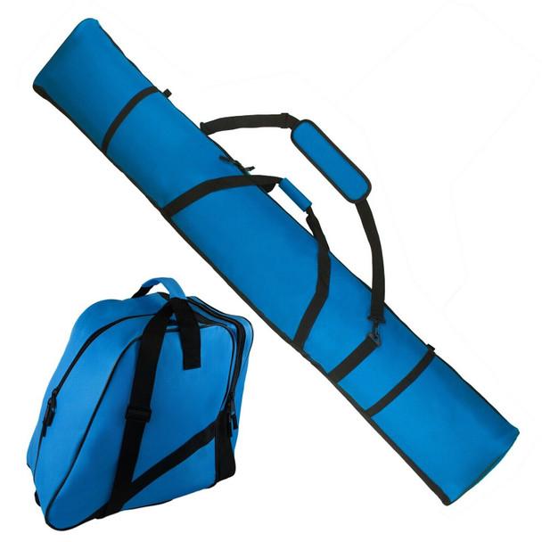 Padded Ski Bag 195cm + Ski Boot Bag - Quality Design - Blue