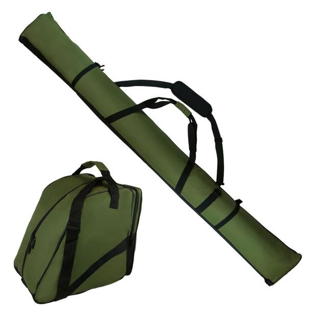 Padded Ski Bag 195cm + Ski Boot Bag - Quality Design - Khaki