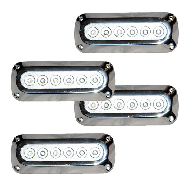 4 x 18W Underwater LED Boat Lights - Rectangle Design