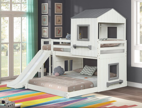Fortress Twin Over Full Loft Bed-White and Grey