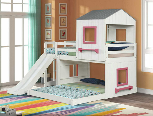 Fortress Twin Over Full Loft Bed- White and Pink