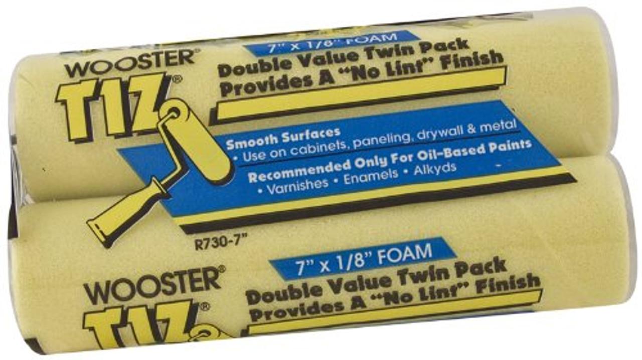 Wooster Brush R730-7 Tiz Foam Roller Cover, 1/8-Inch Nap, 2-Pack, 7-Inch