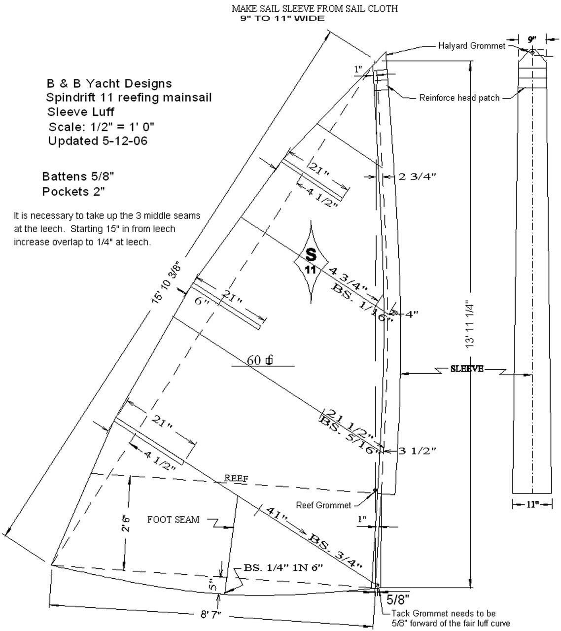 Spindrift 9 Reefing Mainsail