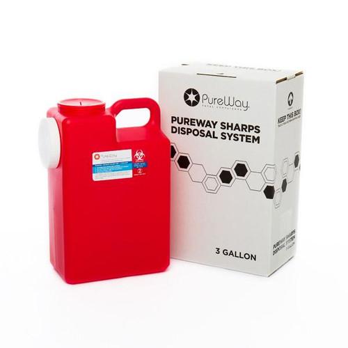 3-gallon single PureWay Mail-Back Sharps Disposal System #40003