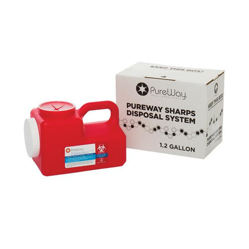 PureWay 1.2 Gallon Sharps Disposal Container Mail-Back System # 40001